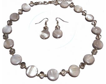 Classic pearl earrings and set women necklace beads and silver gray faceted