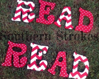 Red and White Handpainted Letters
