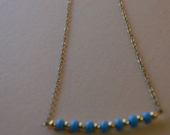 Blue and gold Bead Necklace