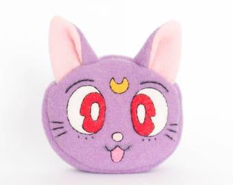 Sailor Moon Luna Cat Kawaii Sewn Felt Coin Purse / Pouch / Bag