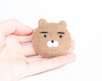 Kakao Friends Ryan Bear Kawaii Sewn Felt Brooch / Pin