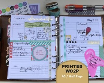 PRINTED Weekly Planner, 2018, Plus Monthly View, Dated, WO2P, Weekly Planner Inserts, Weekly Planner Printed, A5, Half Page, Filofax, Kikki