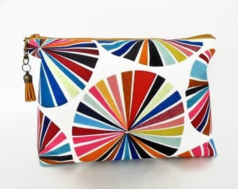 Gifts for her, Canvas Wash bag, colour wheel, colourful travel bag, cosmetic bag, zip bag, make up bag.