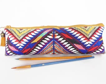 Art gifts, navajo aztec pencil case, student gift, teacher gift, art gift, pencil pouch, brush bag.