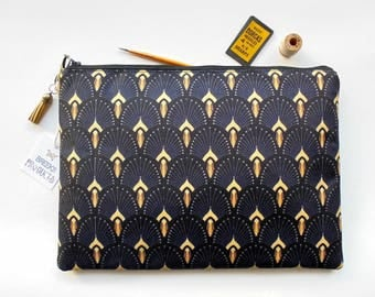 Art deco,fan print,the great gatsby, iPad sleeve 9.7,iPad air 2,toiletry bag,make-up pouch,wash bag,cosmetic bag,1920s,flapper girl.