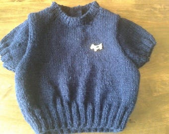 NAVY BLUE SHORT SLEEVED SWEATER