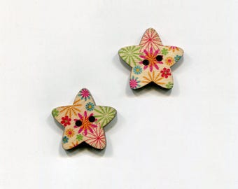 buttons 2 star 25mm * 7 flower pattern * wood