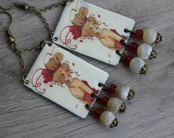 """blonde"" poetic beauty, vintage shabby Bohemian, boho earrings, handmade, red enameled copper, anne soline, illustration"