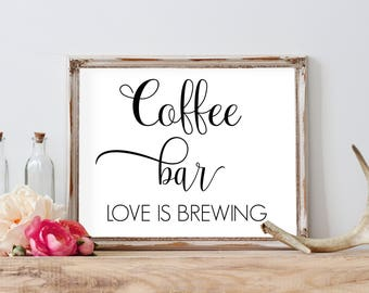 Wedding Coffee Sign, Coffe Bar Printables, Barn Wedding Decorations, Coffee Bar Sign, Wedding Favors Sign, Coffee Favors, Love is Brewing
