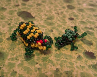 Freshwater turtle figurines and her baby, seed beads