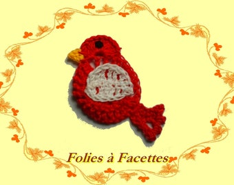 Applique red exotic bird beak yellow crochet cotton