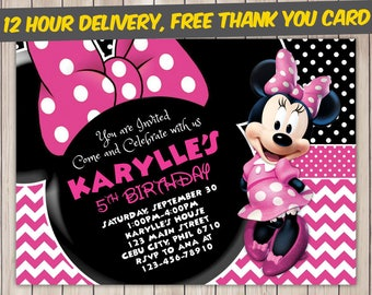 Minnie Mouse Birthday Invitation Etsy - Minnie mouse birthday invitation images