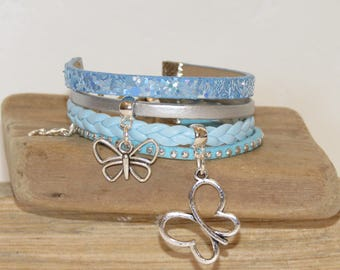 "Girl ""butterflies"" leather Cuff Bracelet leather, suede - sky blue and silver glitter"