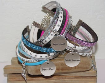 super set of 3 Bracelets cuff - great nanny gift - teacher - super aides in leather and glitter color