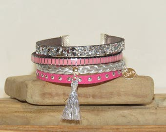 """Cuff Bracelet """"Indian pink"""" leather, glitter leather, suede, silver and Fuchsia"""
