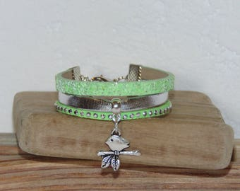 Little girl charm bracelet little bird on branch, pastel green, silver, glitter, leather, suede studded, leather gift idea