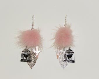 "Tassel earrings fur pink pastel prints bird in cage, leaves, ""earrings Poumpoumpidou"" Pimprenellecreations"