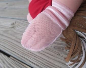 Pink Velvet No Scratch Mesh Mittens