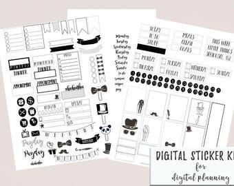Digital Planner or Digital Journal Book Black and White Sticker Kit for Goodnotes | iPad Digital Weekly Stickers | Digital Journal Stickers