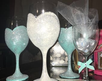 Bridal Party Handpainted glasses