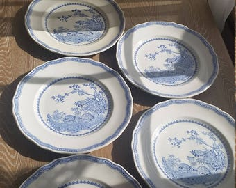 Furnivals blue quail dinner plates