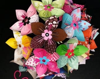 Example set 17 multicolored origami flower Bridal Bouquet & boutonniere