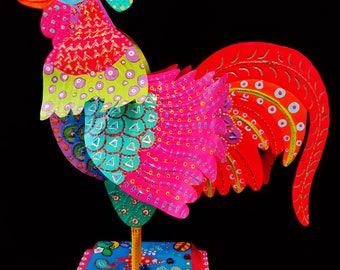 Colorful Tin Rooster