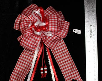 Red Checkered Hair Bow