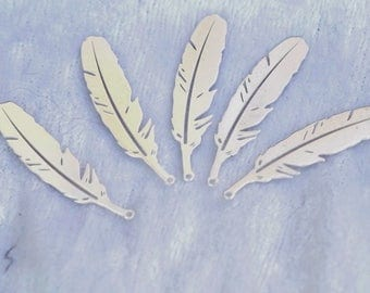 large feather 3 cm Silver 925