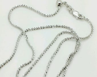 """10k Solid White Gold Adjustable Sparkle Necklace Pendant Chain Up to 22"""" 1.5mm"""