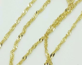 "10k Solid Yellow Gold Diamond Cut Singapore Necklace Pendant Chain 16""-24"" 1.5mm"