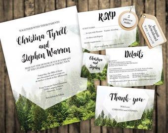 Wedding Invitation Template, Forest Wedding Invitations, Forest Wedding, Wedding Invite Set, Forest Wedding Invitation Template, #F1