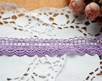 Guipure lace embroidered purple Largeur2.7cm L027002