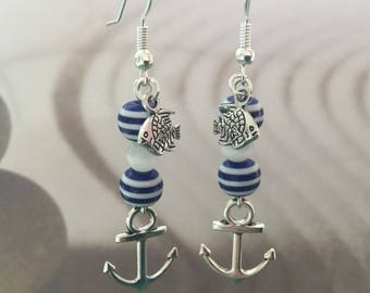 Navy earrings, dangle anchor earrings