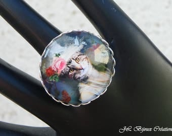 Cat 2 glass cabochon Adjustable ring