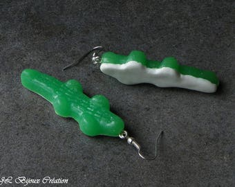Candy Green crocodile Fimo 925 Sterling Silver Earring