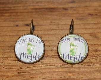 Earrings sleepers cabochons 20 mm Mojito green on white background