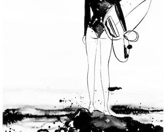 Surfer Girl, from original Ink illustration