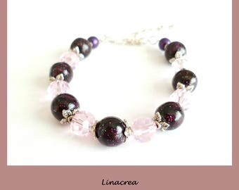 Purple Rose Fimo beads and Crystal beads bracelet