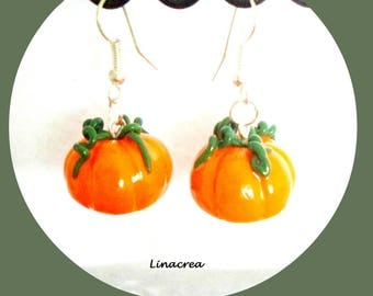 Halloween Pumpkin orange polymer clay earrings