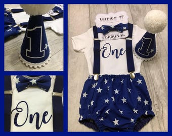 Boys 1st Birthday Cake Smash Outfit Royal Blue White Star Party Hat Nappy Pants Braces Bow Tie Bodysuit Glitter Vinyl One READY TO POST!!