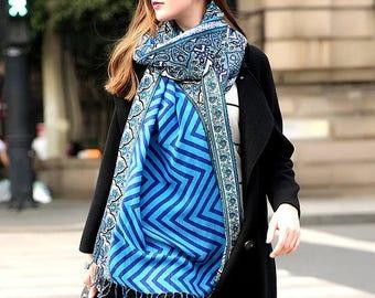 Blue Poncho Scarf Pashmina Shawl Cashmere Scarf Blue Wrap Boho Bohemian Scarves Oversized Wool Shawl Blue Hijab Woman Wool Scarves Esharp