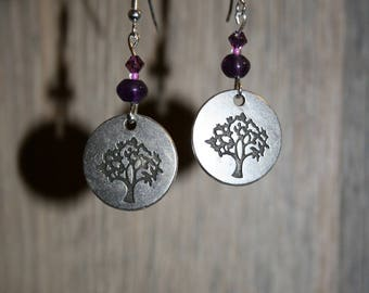 Tree of life earrings, 925 sterling silver, Amethyst, and swarovski crystal