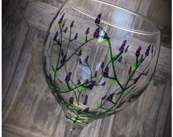Large Gin Glass. Unique 'Lavender' hand painted and dishwasher safe beautiful Glasses. 645ml