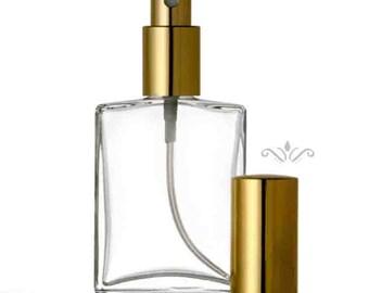 Lot of 72 Bottles:  1 oz. or 2 oz. Flat Atomizer Refillable Perfume GLASS SPRAY BOTTLE Empty Flat Shape