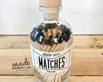 Black Tip Colored Matches. Match Sticks Decorative Glass Bottle. Farmhouse Home Decor. Unique Gifts for her. Best Seller. Most Popular Item