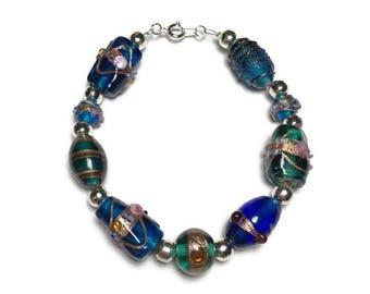 Mermaid inspired inlay lampwork beaded bracelet w/ silver, tropical, turquoise, aqua, under 20, mermaid costume jewelry, stocking stuffer