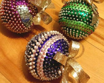 Hand Crafted Sequin Christmas Balls