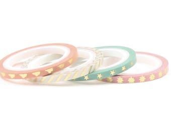 Gold foil washi tape, set of 4
