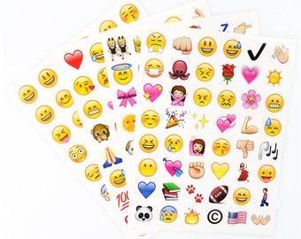 Set of 4 sheets emoji stickers.